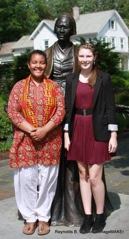 Sajo Jefferson and Katelyn Parzych pose with Sojourner Truth after the ceremony.